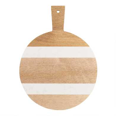 Small Round Wood and White Marble Paddle Cutting Board