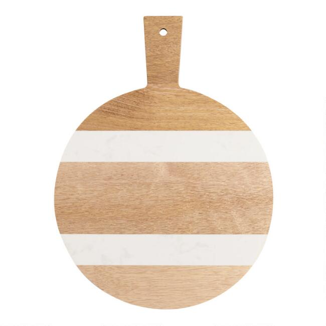 Small Round White Marble and Wood Paddle Cutting Board
