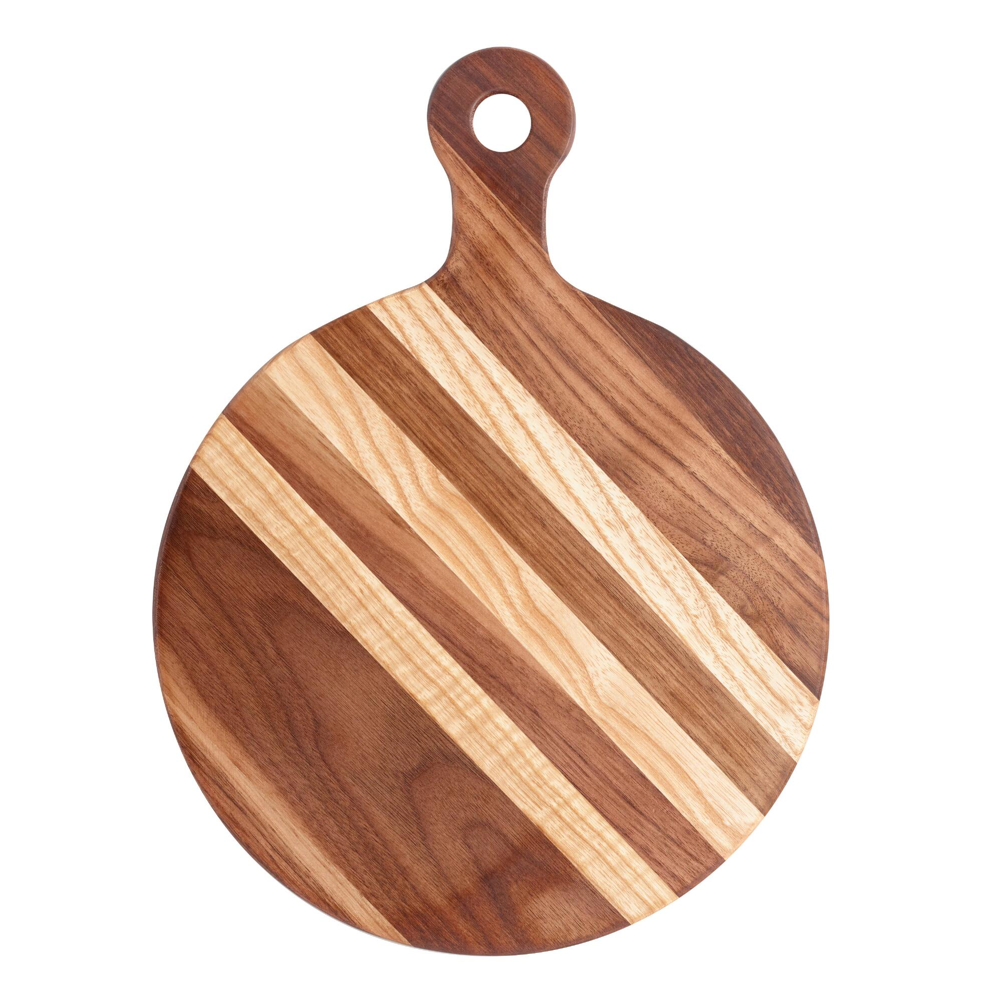 Small Round Walnut Wood Paddle Cutting Board by World Market