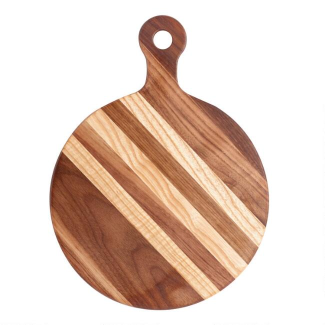 Small Round Walnut Wood Paddle Cutting Board