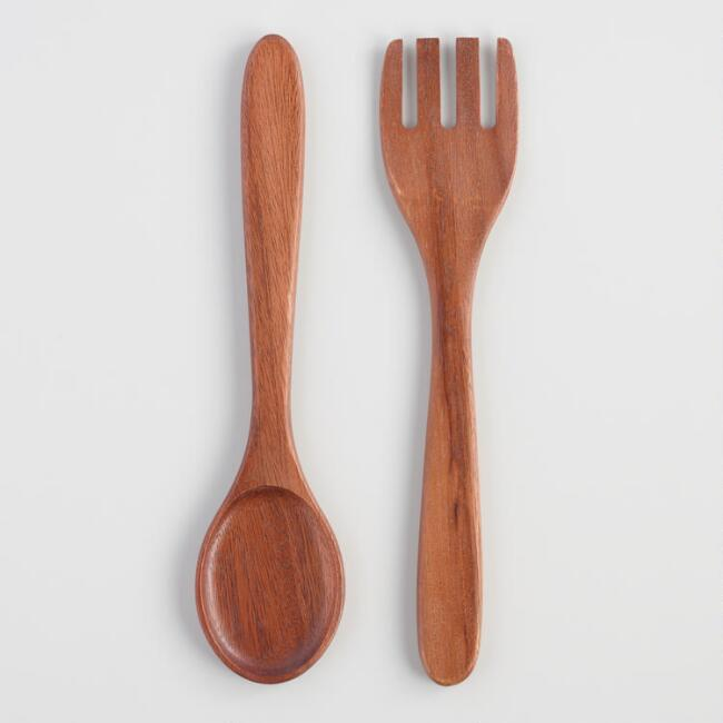 Thai Acacia Wood Salad Servers Set of 2