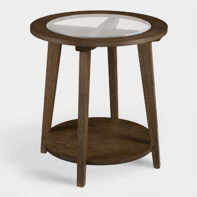 Round Rustic Wood And Glass Kyle Accent Table