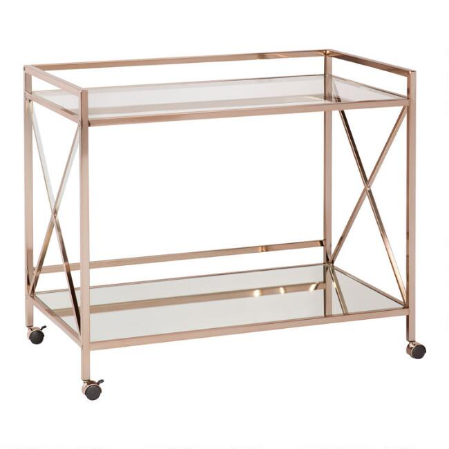 Gold Metal Wide Lowry Bar Cart