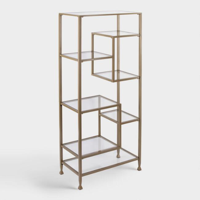 Gold Metal And Glass Reiley Bookshelf
