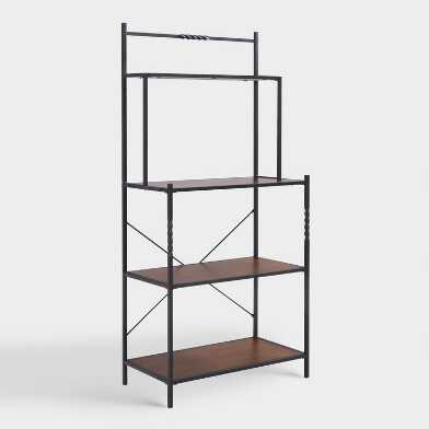 Rustic Metal And Pine Wood Khal Bakers Rack