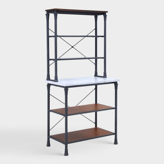 Metal And Marble Ondre Bakers Rack