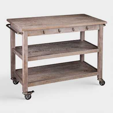 Rustic Oak Wood Dawn Kitchen Cart
