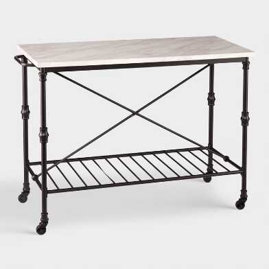Metal And Marble Finish Laurie Kitchen Cart