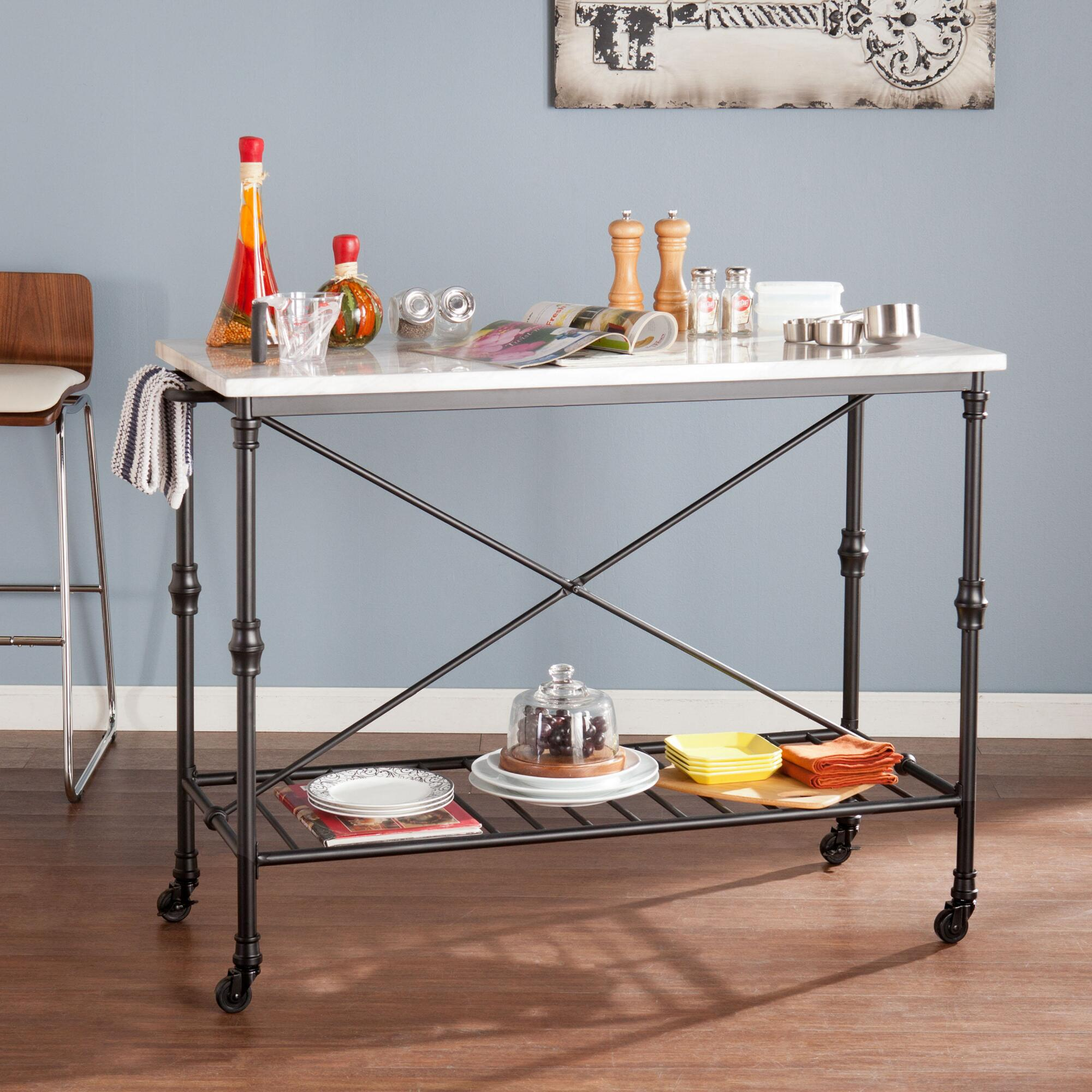 Metal And Marble Finish Laurie Kitchen Cart | World Market