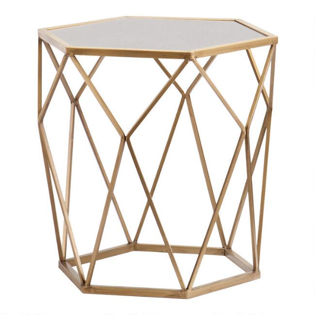 Gold Geometric Mirrored Adair Accent Table