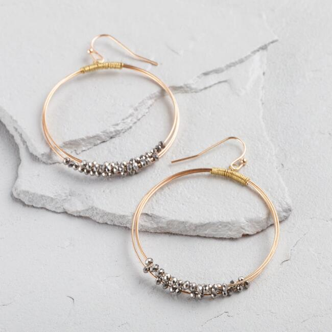 Gold Hematite Beaded Hoop Earrings