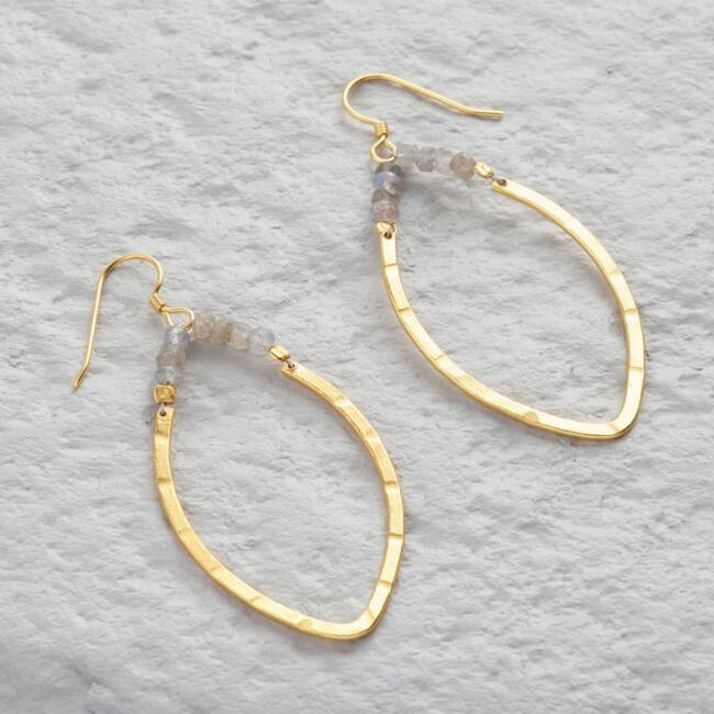Gold Beaded Leaf Hoop Earrings