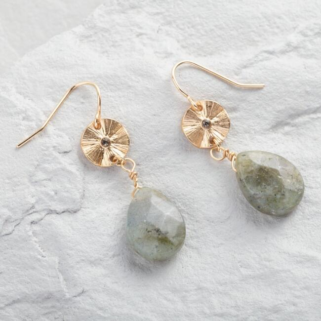 Gold Drop Labradorite Earrings