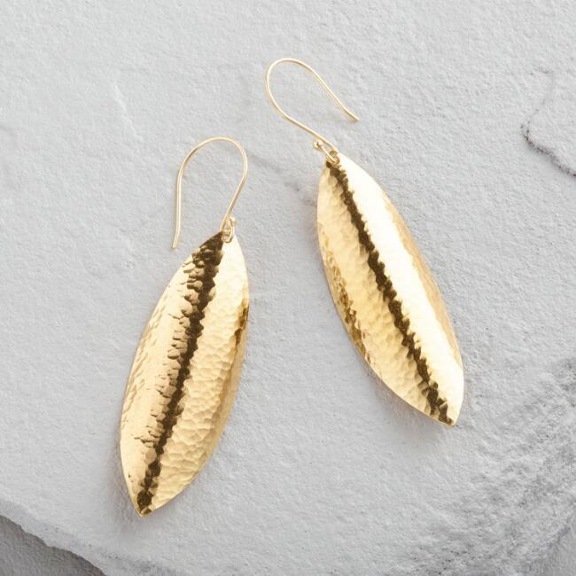 Gold Hammered Curved Leaf Dangle Earrings