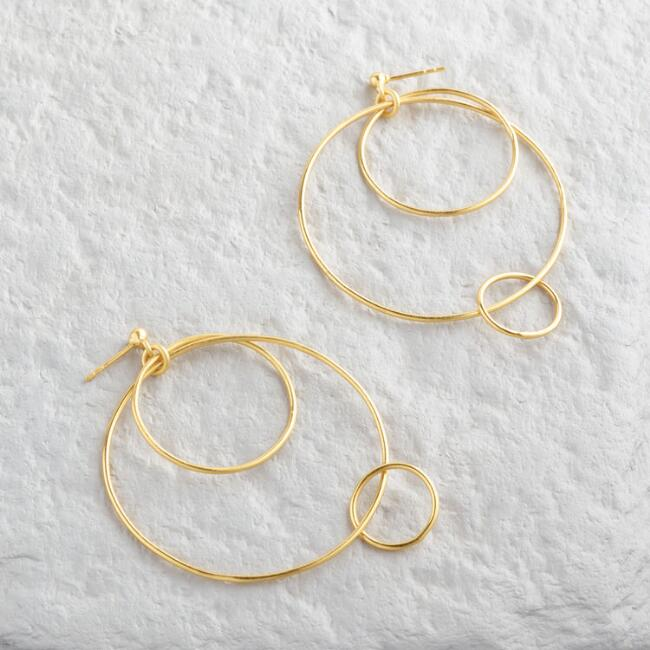 Gold Triple Circle Dangle Earrings