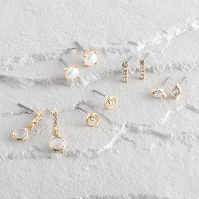 Gold Crystal Mixed Stud Earrings Set of 5