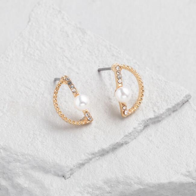 Pearl And Gold Half Circle Stud Earrings