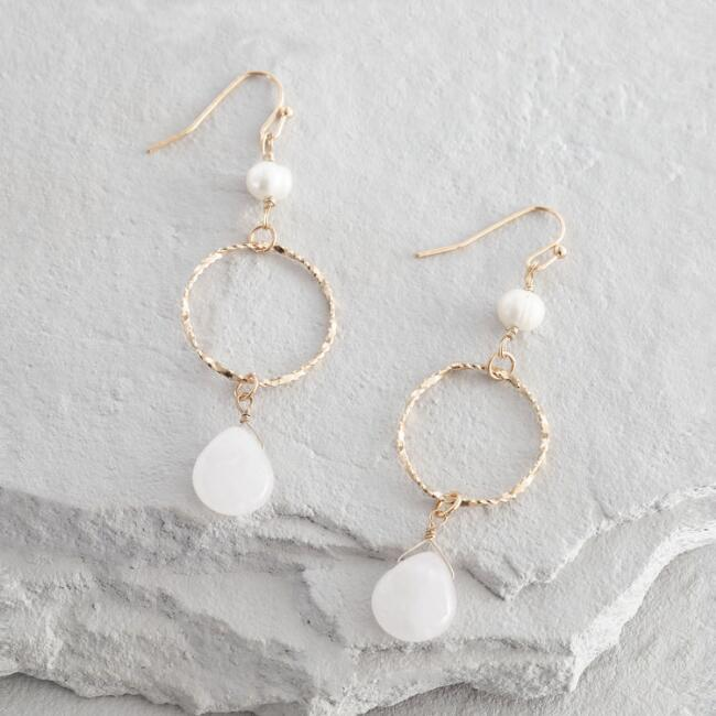 Gold And Rose Quartz Circle Dangle Earrings