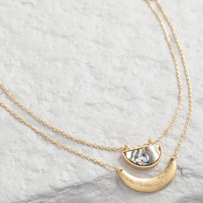 Gold Double Layer Crescent Abalone Necklace