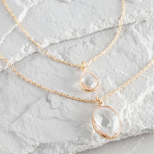 Gold Crystal Double Layer Pendant Necklace