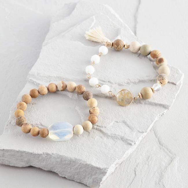 Natural Beaded Stretch Bracelets Set of 2