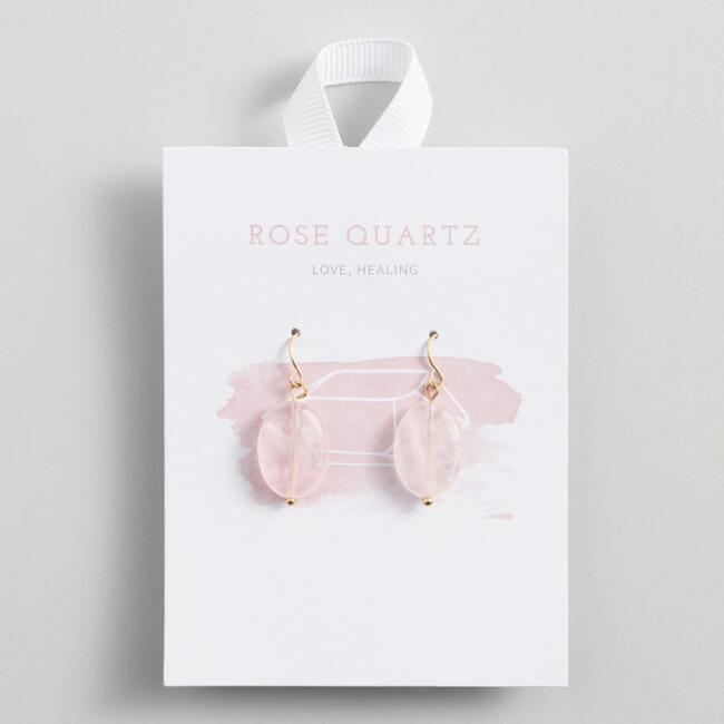 Gold Rose Quartz Drop Earrings