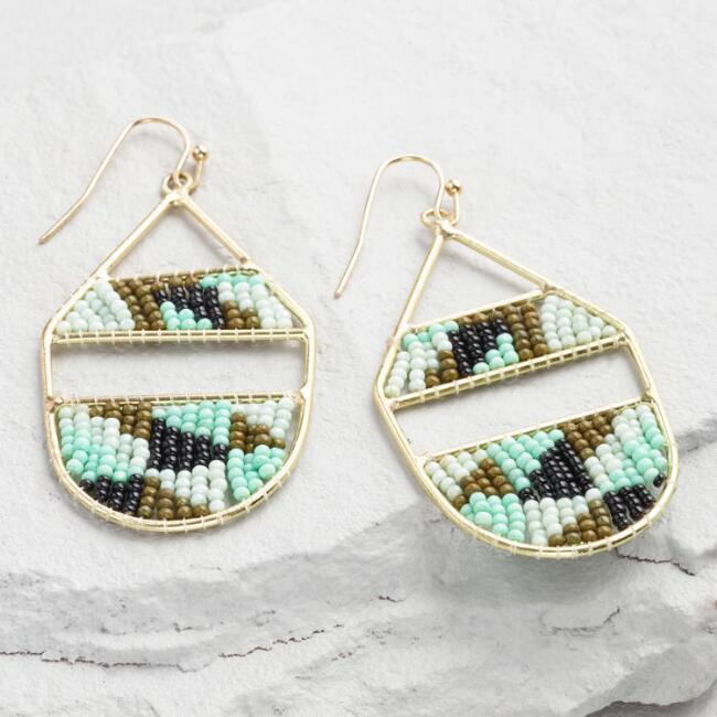 Gold And Aqua Beaded Dangle Earrings