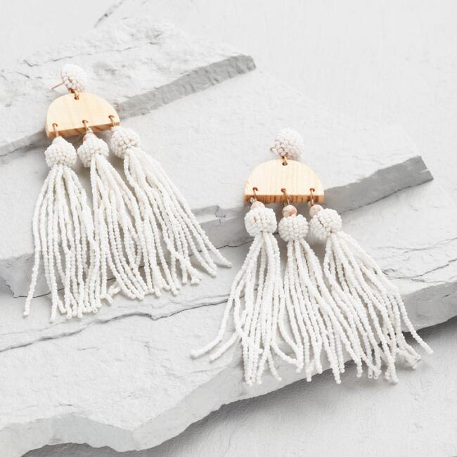 Natural Wood and White Beaded Tassel Dangle Earrings