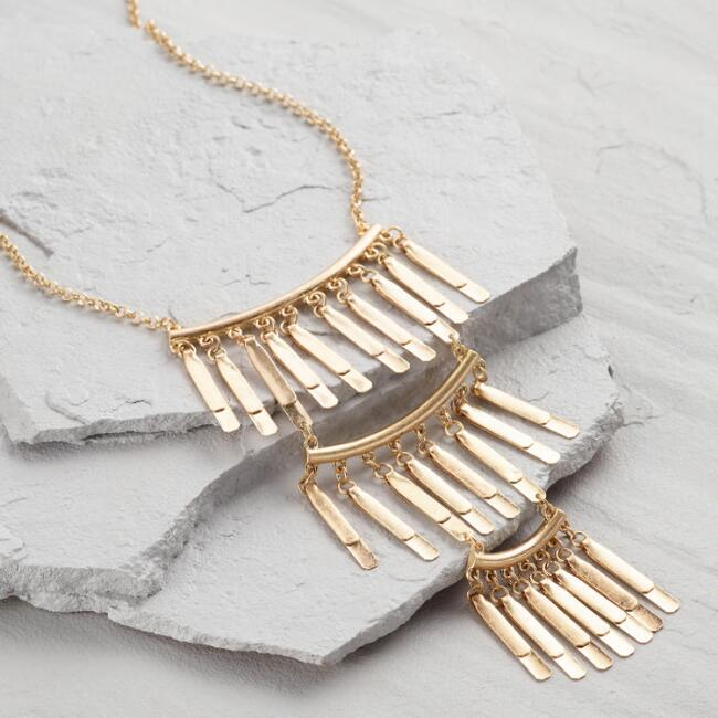 Gold Spoke Three Tier Statement Necklace