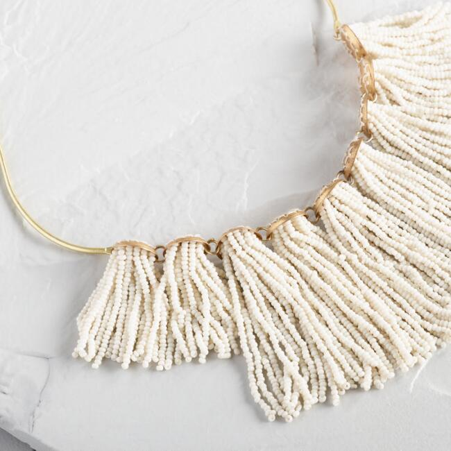 White Beaded Tassel Collar Statement Necklace