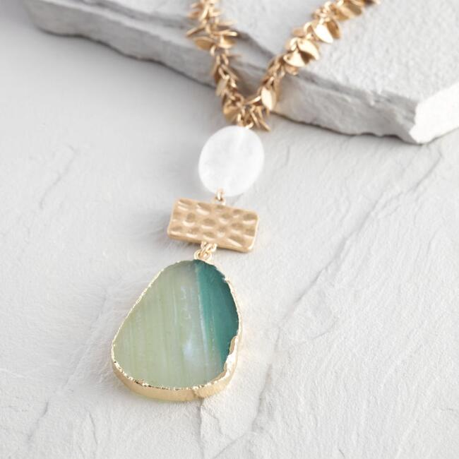 Gold Agate Leaf Pendant Necklace