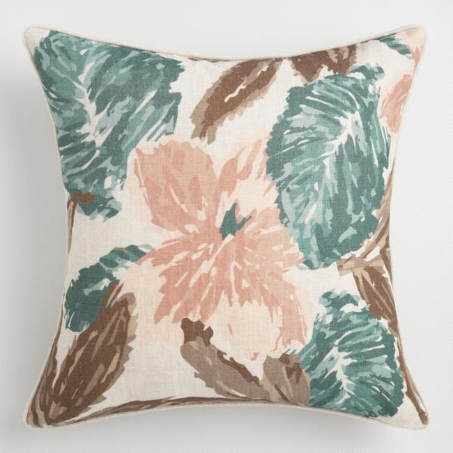 Oversized Neutral Floral Linen Villa Callie Throw Pillow