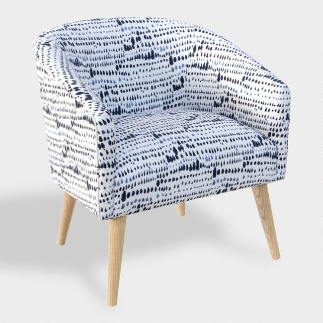 Blue And White Dash Ilana Upholstered Chair