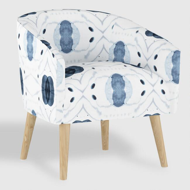 White and Blue Atomic Ilana Upholstered Chair