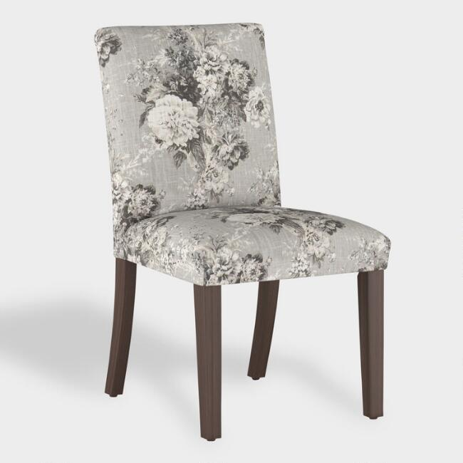Gray Floral Kerri Upholstered Dining Chair
