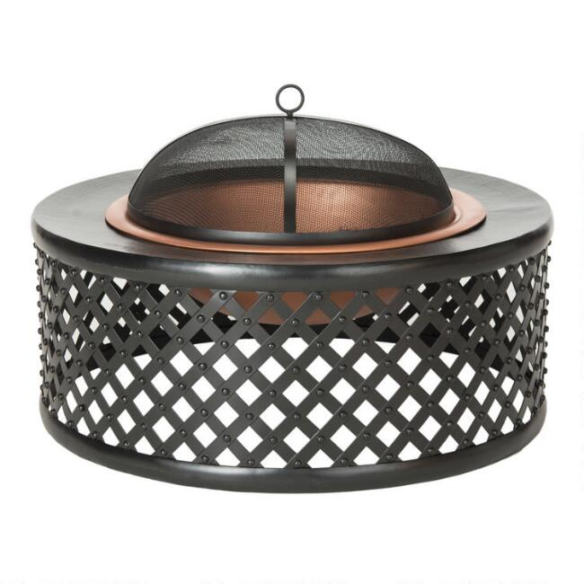 Copper and Black Metal Lattice Weave Lennox Fire Pit