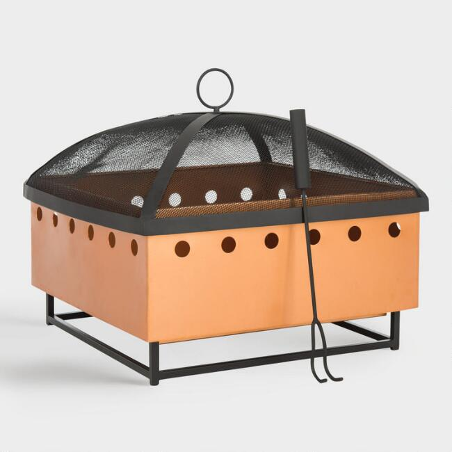 Square Copper and Black Cutout Dot Rylan Fire Pit