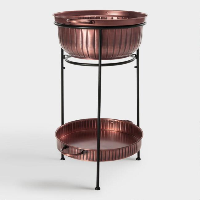 Copper and Black 2 Tier Maize Beverage Tub with Stand