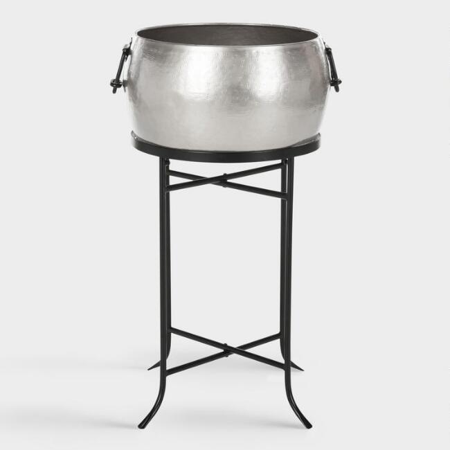 Hammered Pewter Saunders Beverage Tub with Stand