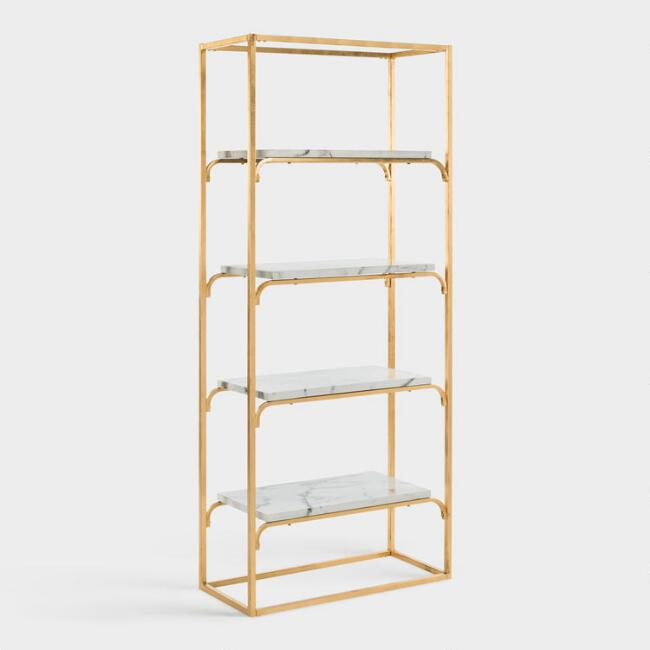 Gold and Marble Marleau Etagere Shelf