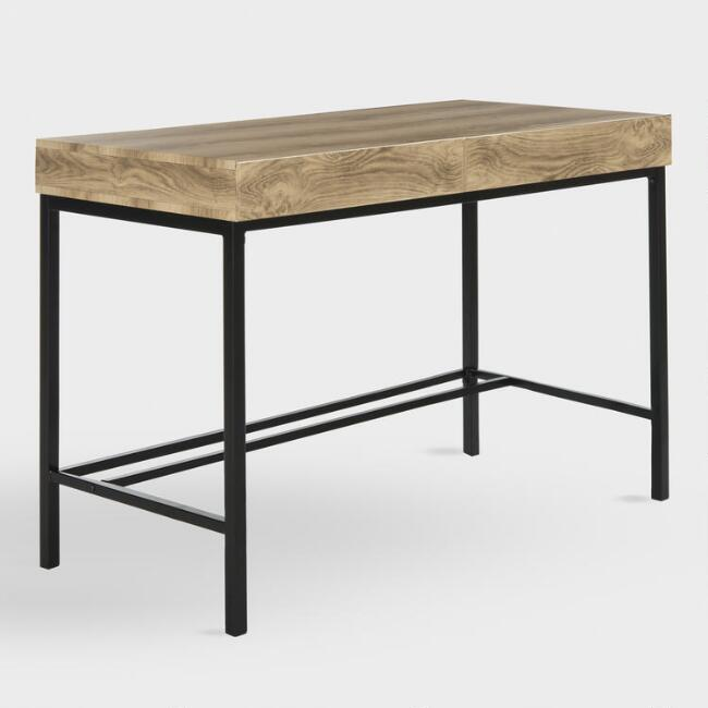 Natural Oak and Metal Evander Desk with Drawers
