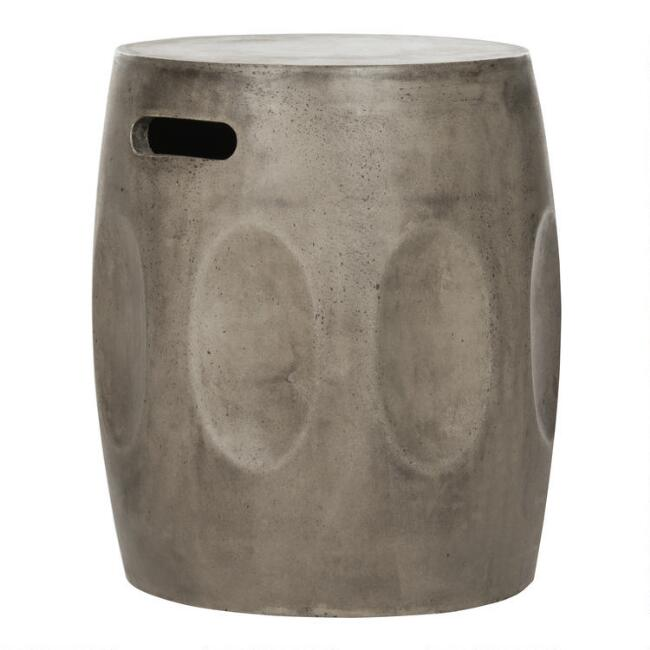 Round Gray Concrete Accent Table