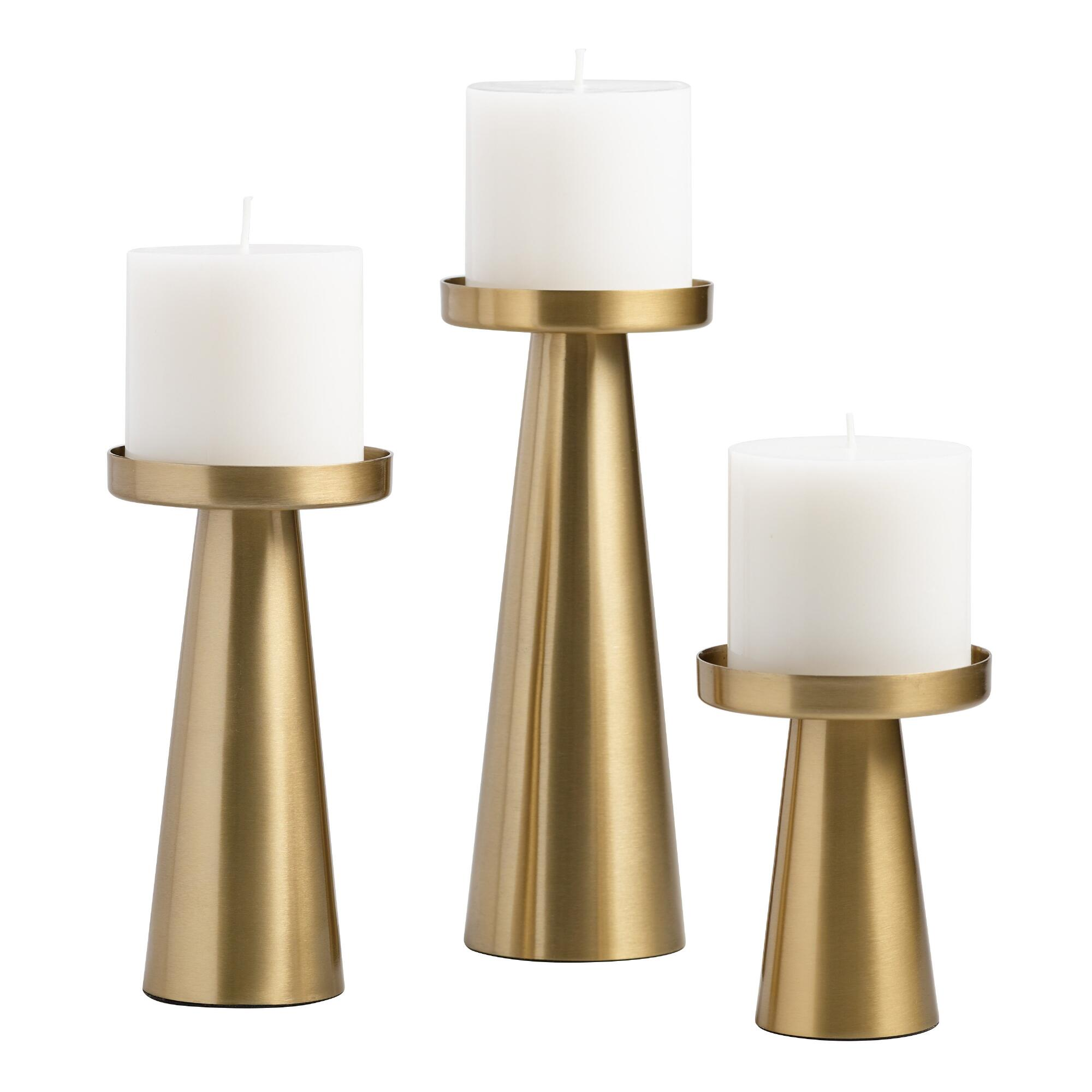 Brushed Gold Metal Contemporary Pillar Candleholder - Small by World Market Small