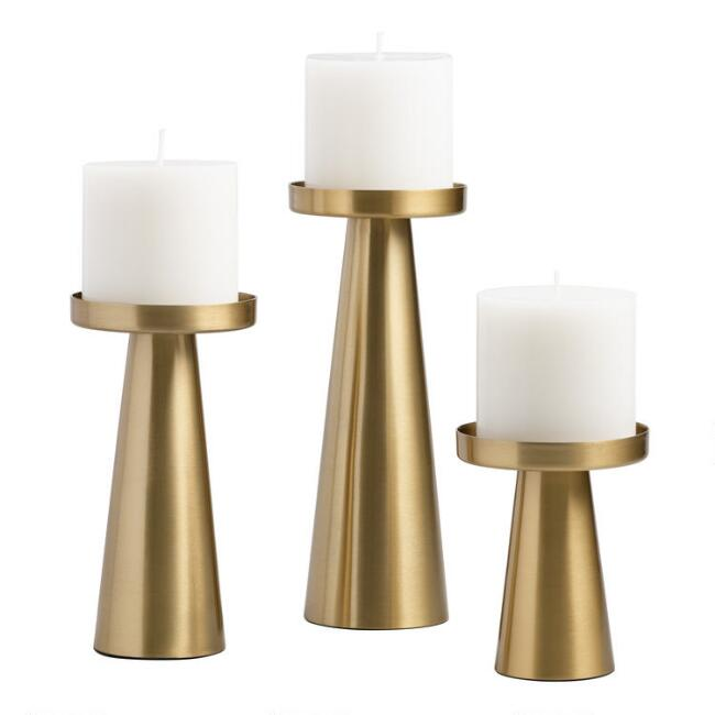 Brushed Gold Metal Contemporary Pillar Candleholder