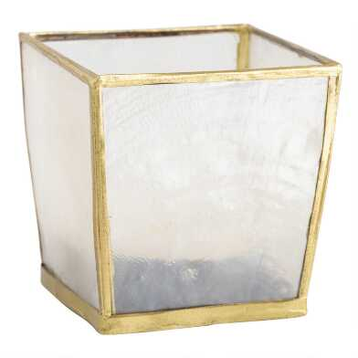 Square White Capiz Tealight Candleholders Set of 2