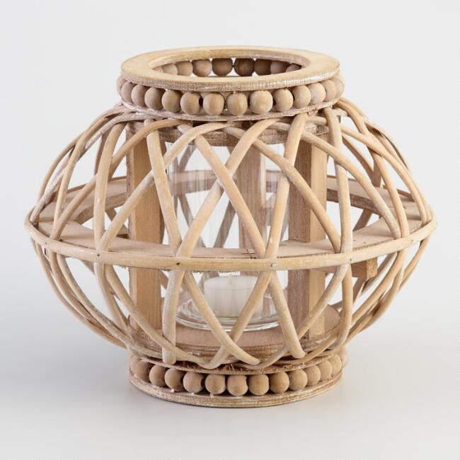 Natural Wood Beaded Lantern