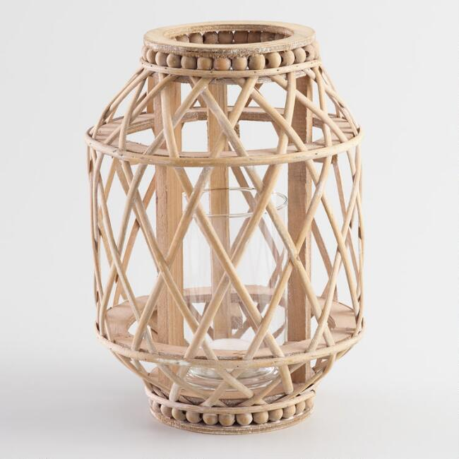 Large Natural Wood Beaded Lantern
