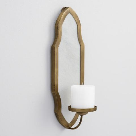 White Marble And Metal Pillar Candle Wall Sconce