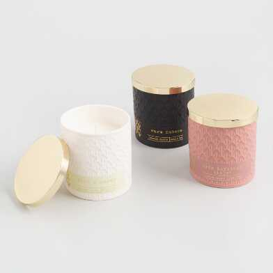 Gold Lid Ceramic Filled Jar Candle Collection