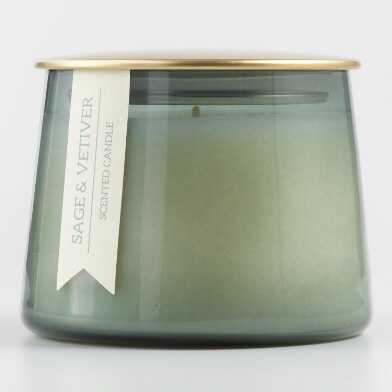 Small Sage and Vetiver Gold Lid Glass Filled Jar Candle